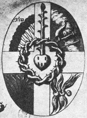 A rosebud grows from a heart in this image of the  Philosopher's Stone, L'Agneau's Harmonic Mystique,1636