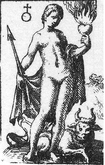 Aphrodite/Venus from an alchemical  text, Viatorium, 1618