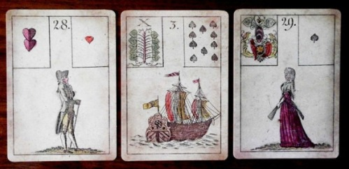 Three Game of Hope cards: the Gentleman, the Ship, and the Lady
